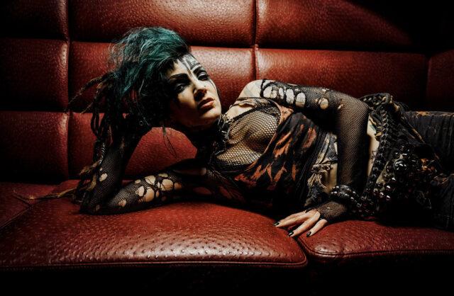 Punk Zombrina Roxx Alternative Model Girl Couch Red