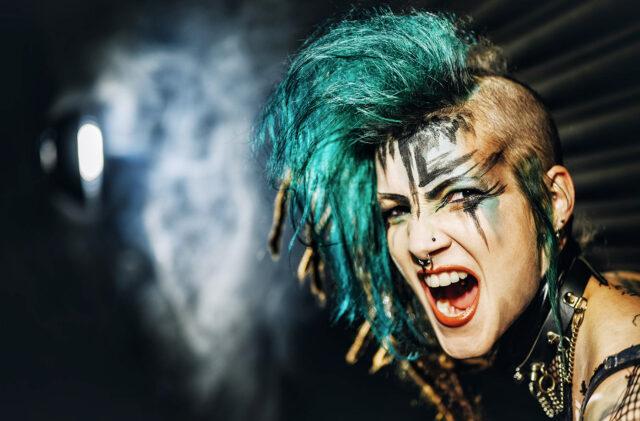 Punk Zombrina Roxx Alternative Model Girl Green Hair